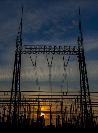 Power station on a sunset background photo