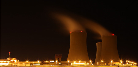 Nuclear power plant at night - Temelin, Czech Republic