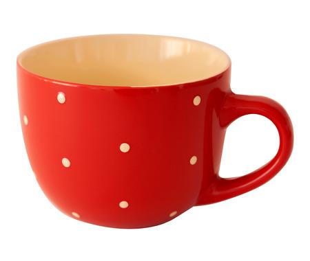 Red polka dot mug on a white background photo