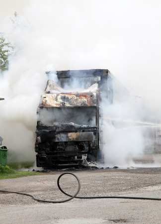 Truck on fire Standard-Bild