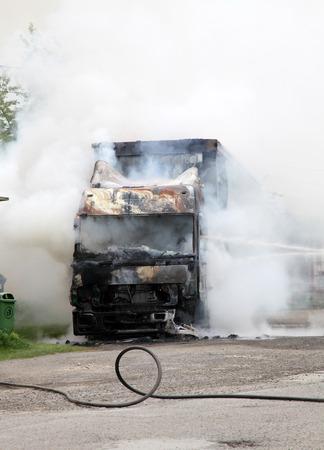 Truck on fire Imagens