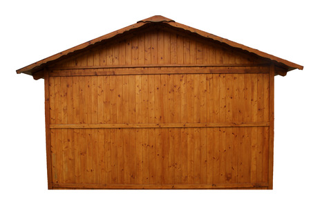 Side exterior of simple wooden house isolated on white background Stock Photo