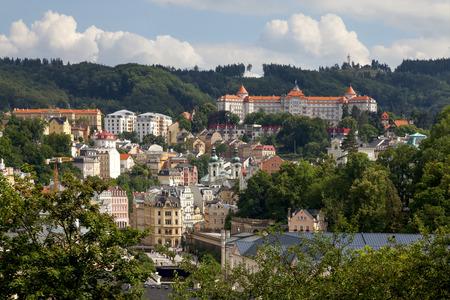 carlsbad: Panorama of Karlovy Vary, Czech Republic Stock Photo