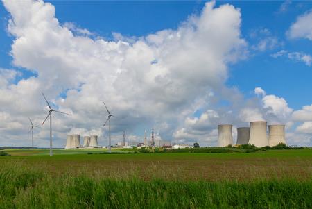 dukovany: Nuclear power plant Dukovany in Czech Republic Europe, wind turbines