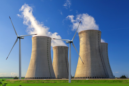 dukovany: Nuclear power plant Dukovany with wind turbines in Czech Republic Europe