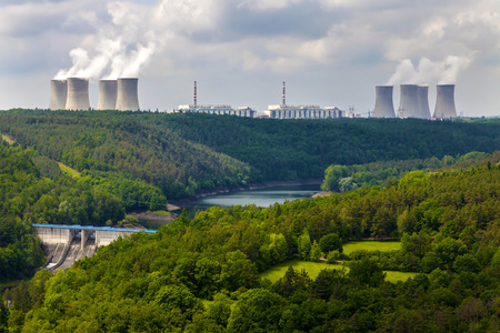 dukovany: Nuclear power plant Dukovany in Czech Republic Europe, dam Dalesice Stock Photo