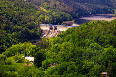 The reservoir and hydraulic power plant Dalesice in the Czech republic Stock Photo