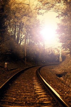 Railway to sunset photo