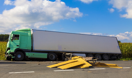 A view of truck on an highway in an accident