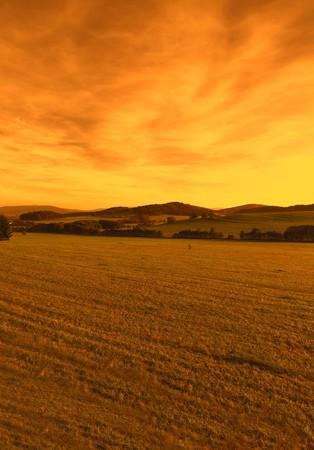 landscape rural: Sunset, landscape in the Czech Republic Stock Photo