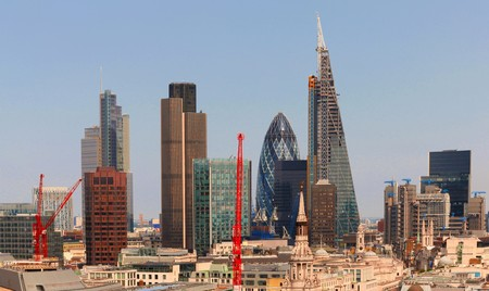 willis: City of London one of the leading centres of global finance.This view includes Tower 42 Gherkin,Willis Building, Stock Exchange Tower and Lloyd`s of London and Canary Wharf at the background. Stock Photo