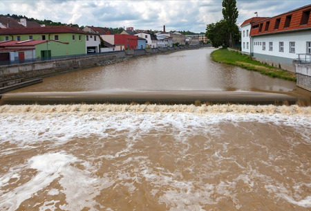 increased: Increased water level in city, Czech republic