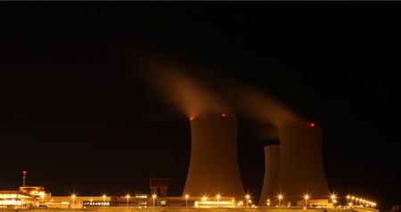 temelin: Nuclear power plant at night - Temelin, Czech Republic