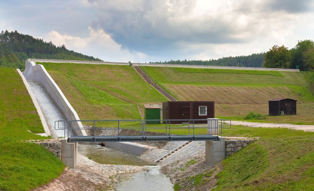 abandoning: Diverted water at the dam. Flooding and heavy rain in the Czech Republic