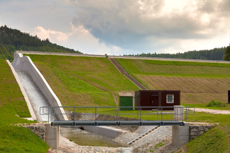 diverted: Diverted water at the dam. Flooding and heavy rain in the Czech Republic