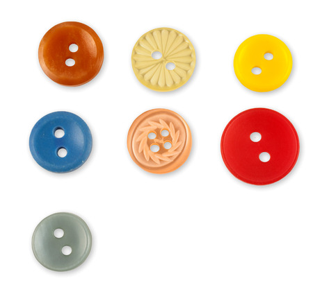 sewing buttons: Set of colorful sewing buttons isolated on white background