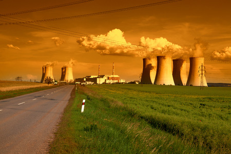 dukovany: Nuclear power plant Dukovany in Czech Republic Europe in the sunset
