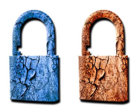 security symbol: Two padlocks on white background Stock Photo