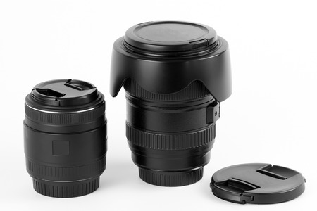 wide angle lens: Wide angle lens for digital photo cameras and macro lens on a white background Stock Photo