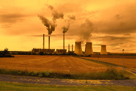 to plant: Petrochemical industrial plant, Czech Republic, sunset sky Stock Photo