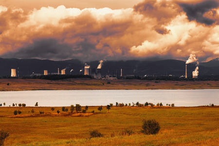 powerhouse: Thermal power station in Czech Republic, in the foreground the lake