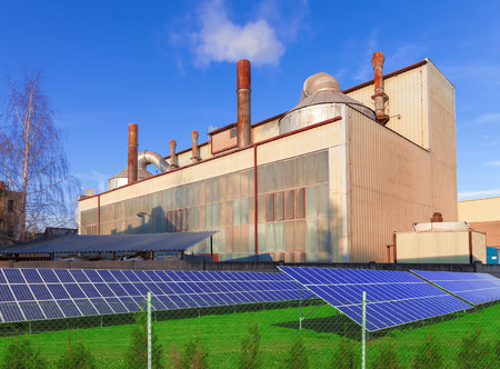 manufactory: Industrial building with solar panels