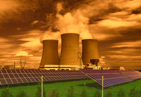 electric generating plant: Nuclear power plant Temelin with solar panels in Europe Czech Republic Stock Photo