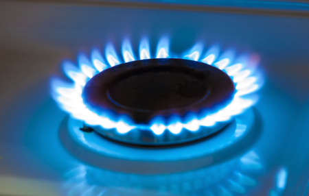 home safety: Gas burning from a kitchen gas stove Stock Photo