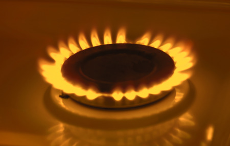 gas stove: Gas burning from a kitchen gas stove Stock Photo