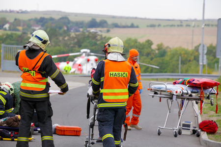 evacuate: CZECH REPUBLIC Pilsen, SEPTEMBER 30, 2015: Czech rescue helicopter Evacuate Injured after a car accident on September 30th 2015.