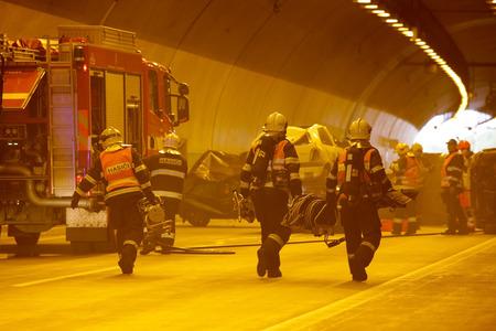 time bound: CZECH REPUBLIC Pilsen, SEPTEMBER 30, 2015: Rescue Team working on a car crash Editorial