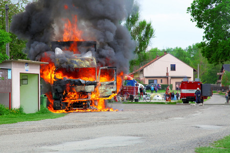 CZECH REPUBLIC, Vsti, MAY 9, 2013: Fire truck in the middle of the village, to help firefighters. Editorial