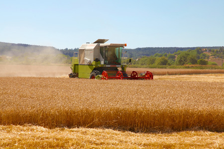 winnowing: CZECH REPUBLIC, Chlumcany, AUGUST 2, 2013, Combine harvester at the edge of field grain hot During harvest time Editorial