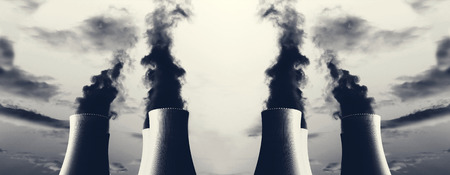fumes: Several power plant with chimneys and huge fumes