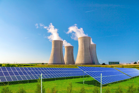 reactor: Nuclear power plant Dukovany with solar panels in Europe Czech Republic