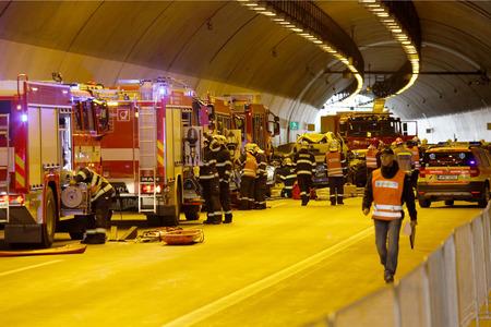 CZECH REPUBLIC Pilsen, SEPTEMBER 30, 2015: Rescue Team working on a car crash