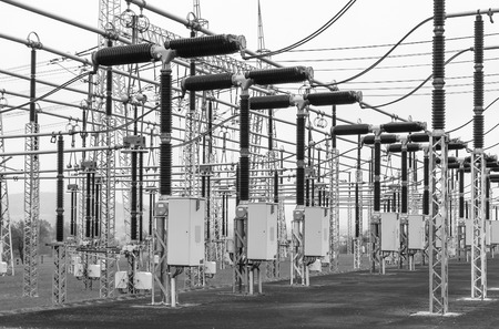 amperage: Part of high-voltage substation with switches and disconnectors Stock Photo