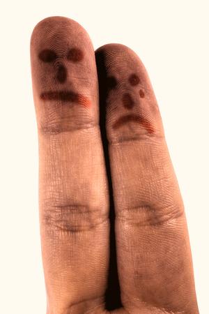 desolaci�n: Sad dedos sobre fondo blanco