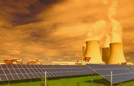 temelin: Nuclear power plant Temelin with solar panels in Europe Czech Republic Stock Photo