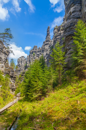 geologists: Rocks in the National park of Adrspach-Teplice Rocks - Czech Republic Stock Photo