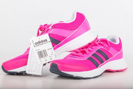 czech women: Chlumcany, Czech Republic - JUNE 9, 2016: ADIDAS pink shoes for women.