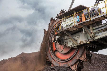 Giant bucket wheel excavator Stock Photo