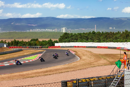 CZECH REPUBLIC, MOST, JULY 25, 2015: Trainings of motorbikes on the race track.