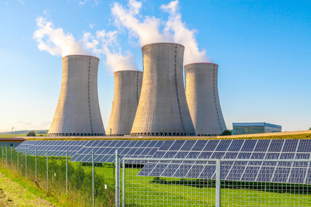 electric generating plant: Nuclear power plant Dukovany with solar panels in Europe Czech Republic