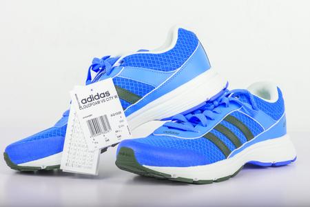adidas: Chlumcany, Czech Republic - JUNE 9, 2016: blue Adidas shoes for women.