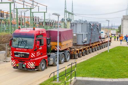 oversized: CZECH REPUBLIC, P?E�TICE, NOVEMBER 11, 2014: Transport of heavy, oversized loads and construction machinery