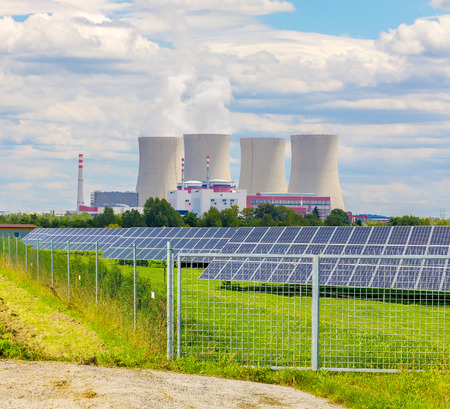 Thermal power plant with solar panels in Europe Czech Republic Stock Photo