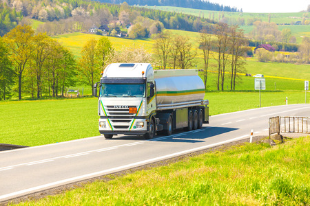 CZECH REPUBLIC, KLATOVY, MAY 6, 2016: The tanker truck on the road
