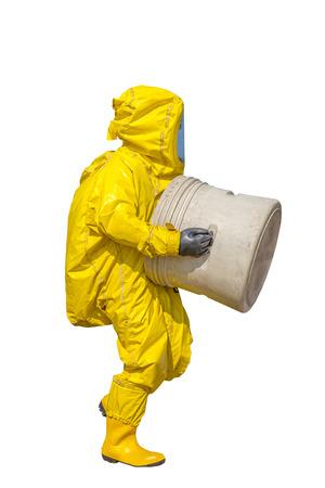 hazmat: Isolated man in yellow protective hazmat suit