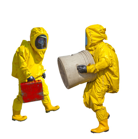 environmentalist: Isolated man in yellow protective hazmat suit